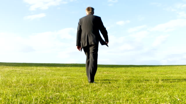 Businessman walking over a hill video