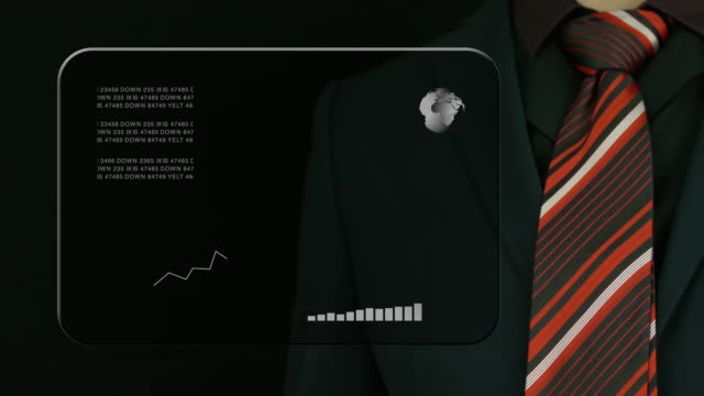Businessman With A Suit And A Red Tie Clicking On A Futuristic Screen. video