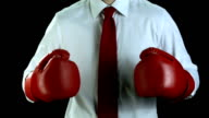 HD SLOW MOTION: Businessman With Boxing Gloves video