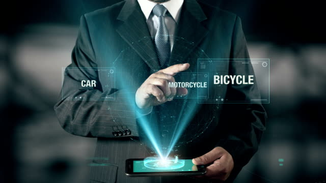 Businessman with Healthy Life concept choose Bicycle from Car Motorcycle using digital tablet video