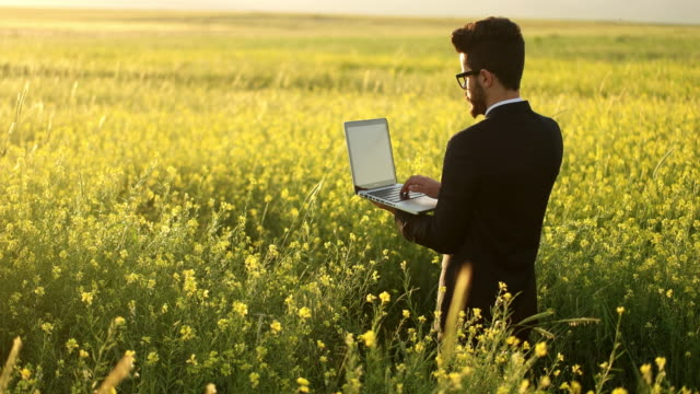 Businessman with Laptop on Field video