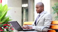 Businessman with laptop video