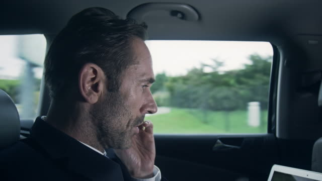 Businessman with phone in car video