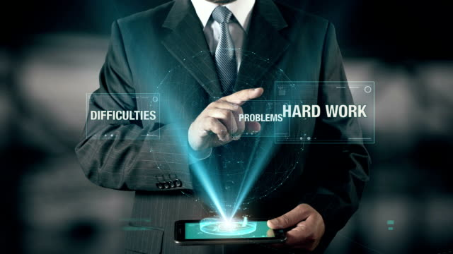Businessman with Success concept choose Hard Work from Problems Difficulties using digital tablet video