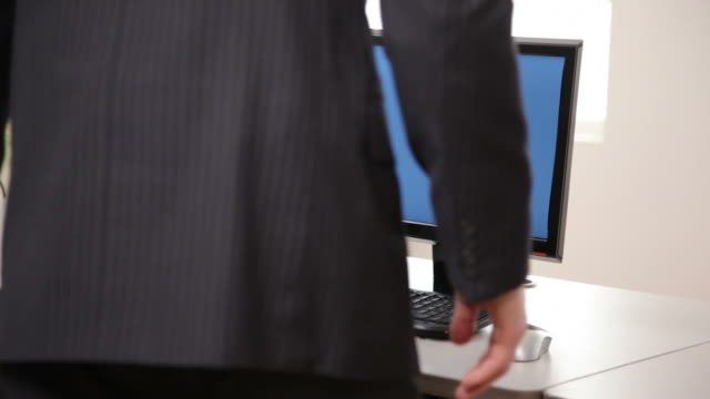 Businessman working at computer video