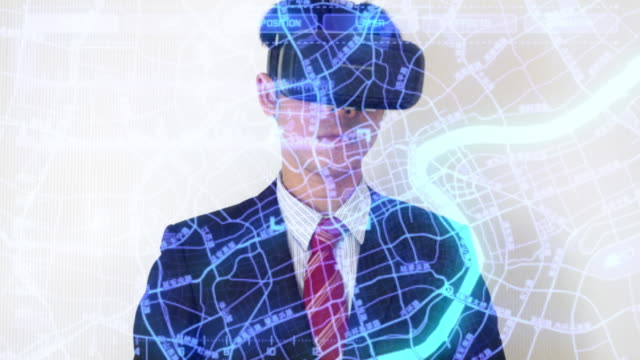 Businessman working on internet searching data with virtual reality headset video
