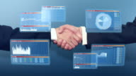 Businessmen handshake with 3D financial graphs video