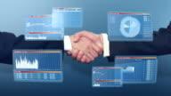 Businessmen handshake with 3D financial graphs video