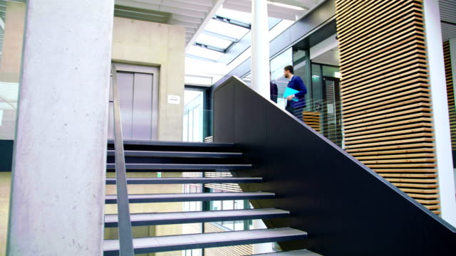 Businessmen interacting with each other while walking on stairs video