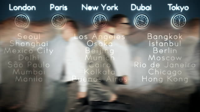 Businessmen Rush Hour with World Clocks and Big Cities video