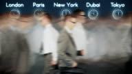 Businessmen Rush Hour with World Clocks, loop video