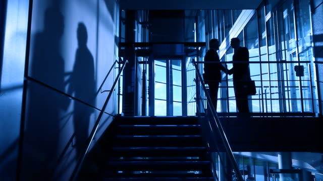 Businessmen shadows on stairs video