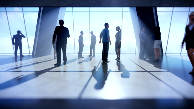 Businessmen talking, office windows above clouds video