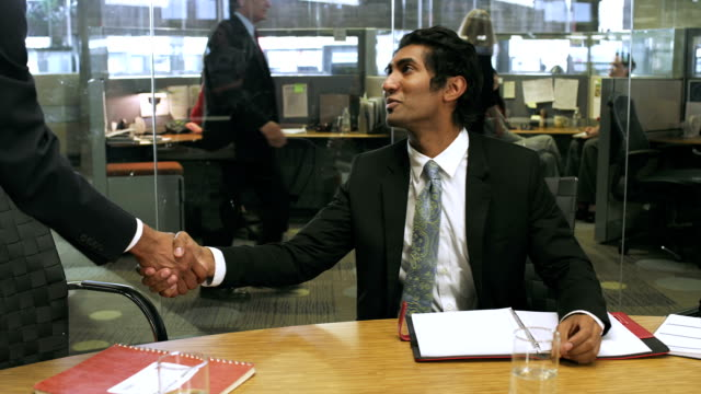 Businessmen talking video