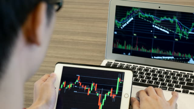 Businessnan Analyzing Technical stock market video
