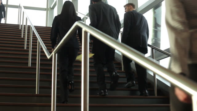 Businesspeople walking up and down steps video
