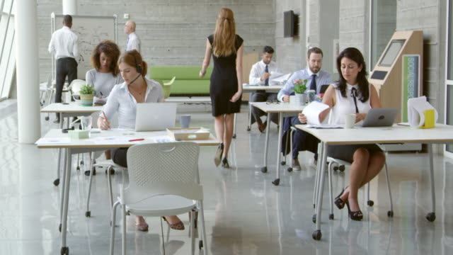 Businesspeople Working At Desks In Modern Office Shot On R3D video
