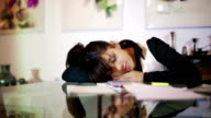 Businesswoman asleep in the conference room video