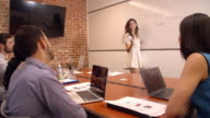 Businesswoman At Whiteboard In Office Giving Presentation video
