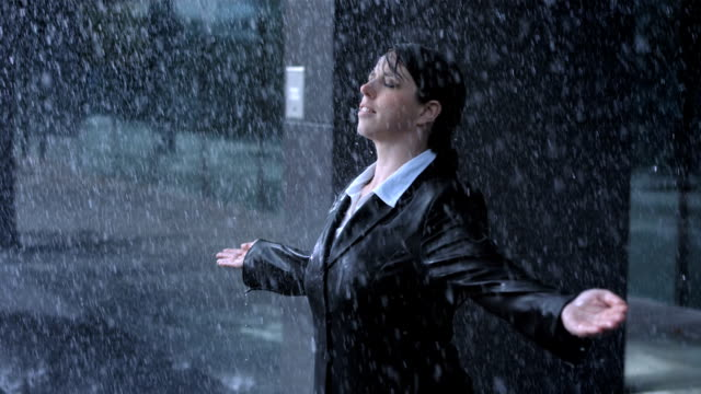 Businesswoman Enjoying The Rain video