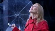 Businesswoman Exposing To The Rain video