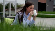 Businesswoman in cafe video