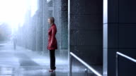 Businesswoman In The Rain (Super Slow Motion) video