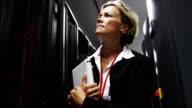 IT businesswoman inspects data center servers video
