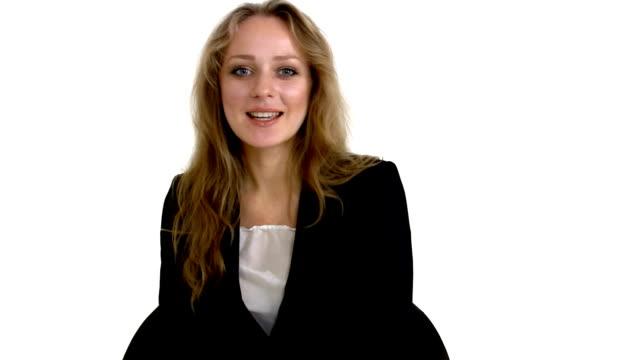Businesswoman is talking video