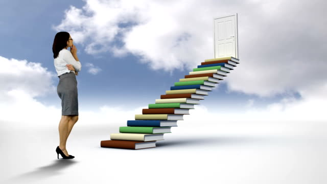 Businesswoman looking at steps made of books in the cloudy sky video