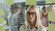 Businesswoman looking at sticky notes. Bad News. video