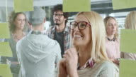 Businesswoman looking at sticky notes. Good news. video