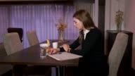 Businesswoman Manager Busy Business Woman Working Using Telephone At Breakfast video