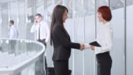 DS Businesswoman meeting with colleague in corporate hallway video
