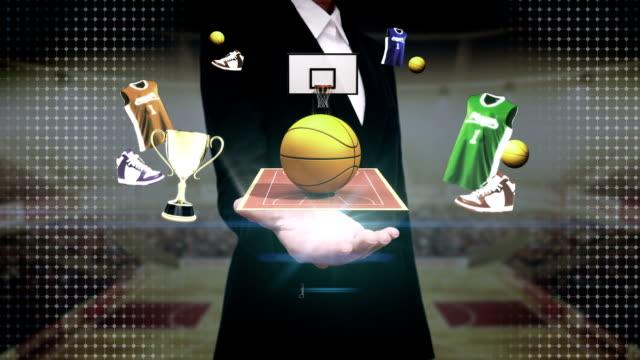 Businesswoman open palm, Around basketball icon, court, goalpost. video