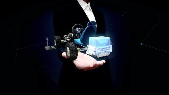 Businesswoman open palm, Hybrid car, Electronic, hydrogen, lithium battery car. video