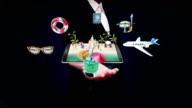 Businesswoman open palm, travel beach, sea, Mobile access online tour. video