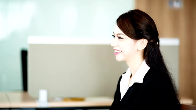 Businesswoman presenting her to business partner. video