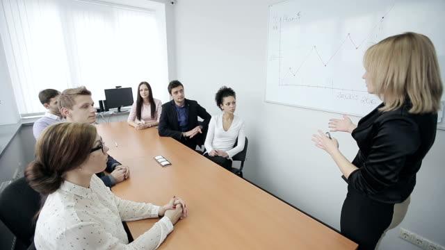 Businesswoman presenting on whiteboard video