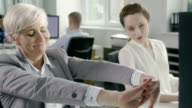 Businesswoman relaxed at work. Corporate business video