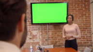 Businesswoman Standing By Screen To Deliver Presentation video