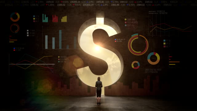 businesswoman standing in front of black wall, shape of a Dollar sign.Dollar currency.Dollar money.with economic diagram video