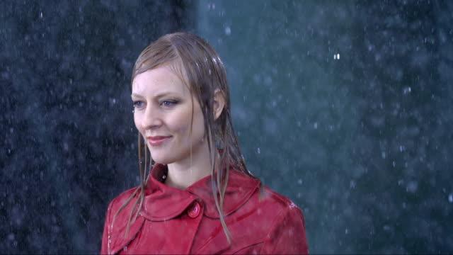 Businesswoman Standing In The Rain video