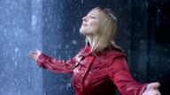Businesswoman Surrendering To The Rain video
