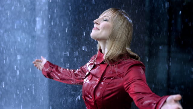 Businesswoman Surrendering To The Rain video