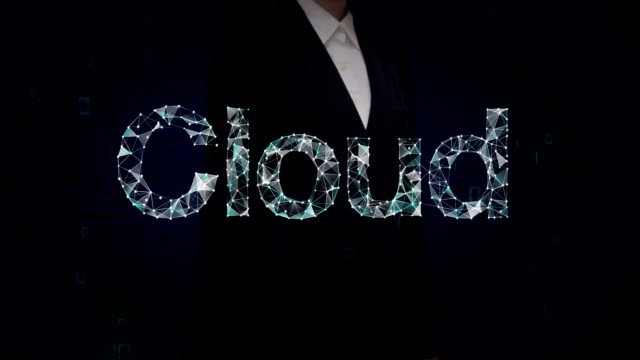 Businesswoman touched screen, Numerous dots gather to create a 'Cloud' typo, low-polygon web. video