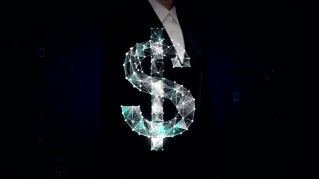 Businesswoman touched screen, Numerous dots gather to create a Dollar currency sign, low-polygon web. video
