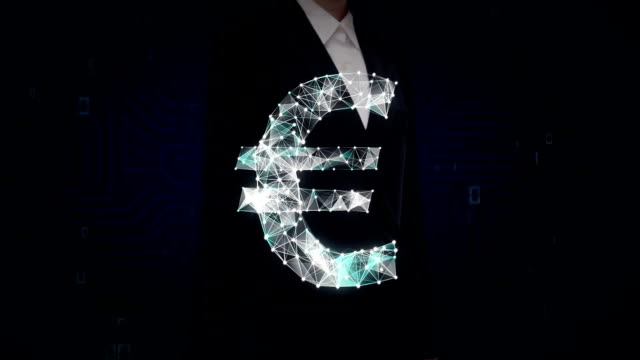 Businesswoman touched screen, Numerous dots gather to create a Euro currency sign, low-polygon web. video