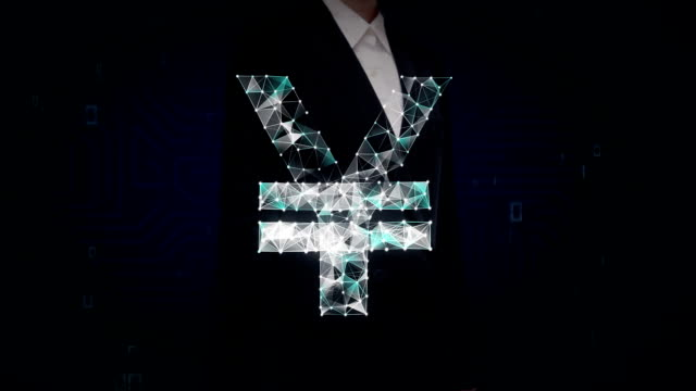 Businesswoman touched screen, Numerous dots gather to create a Yen currency sign, low-polygon web. video
