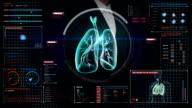 Businesswoman touching digital screen, Rotating Human lungs, Pulmonary Diagnostics. video